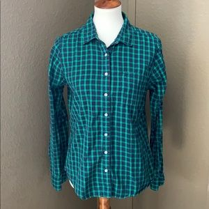 St. John's Bay Green Blue Plaid Shirt Size L